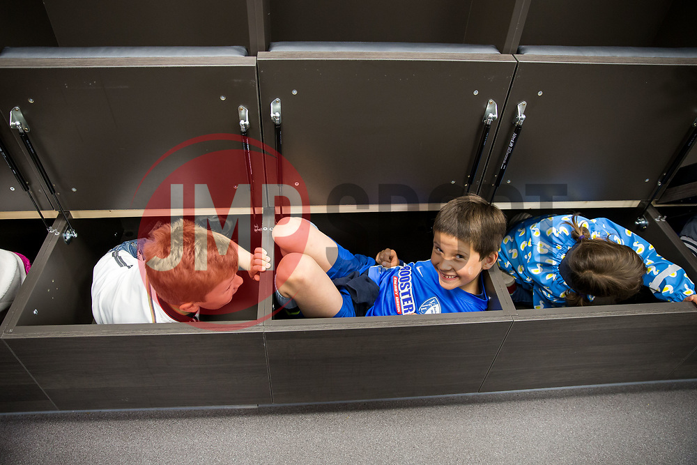 Bristol City's Jens Hegeler and Fabian Giefer take German Speaking children from the German Saturday School in Bristol on a tour of Ashton gate Stadium - Rogan Thomson/JMP - 24/04/2017 - Ashton Gate Stadium - Bristol, England.