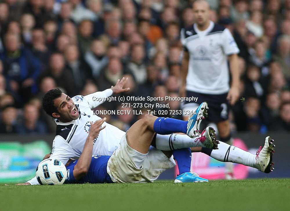 23/10/2010 Premier League football. Tottenham Hotspur v Everton.<br /> Tottenham substitute Sandro goes down dramatically after a challenge from Steven Pienaar.<br /> Photo: Mark Leech.