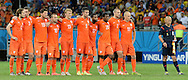 The players of Netherlands look on during the penalty shoot out during the 2014 FIFA World Cup match at the Itaipava Arena Fonte Nova, Nazare, Bahia<br /> Picture by Stefano Gnech/Focus Images Ltd +39 333 1641678<br /> 05/07/2014