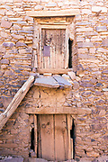 Close up of an old door to a storage chamber inside the Ighrem Granary, Souss Massa Draa, Southern Morocco, 2016-05-26. <br />