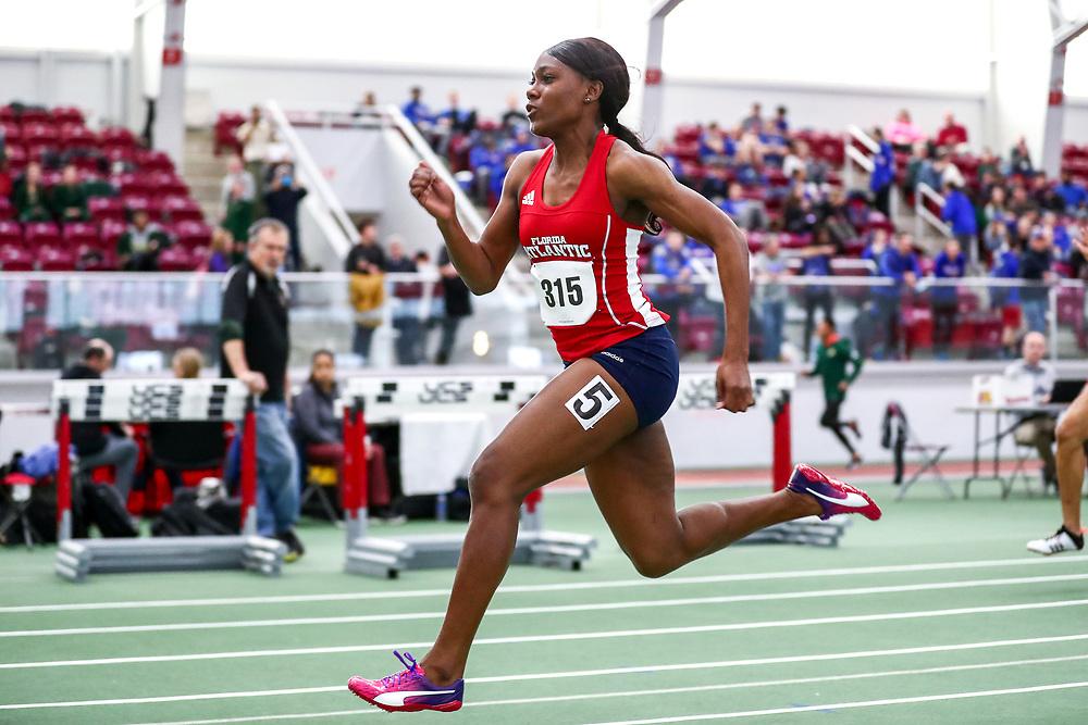 womens 60 meter prelim 4, Florida Atlantic, Whyte, Natalliah<br /> Boston University Scarlet and White<br /> Indoor Track & Field, Bruce LeHane