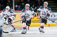 KELOWNA, CANADA - FEBRUARY 28: Colten Martin #8 and Rodney Southam #17 of Kelowna Rockets skate against the Calgary Hitmen on February 28, 2015 at Prospera Place in Kelowna, British Columbia, Canada.  (Photo by Marissa Baecker/Shoot the Breeze)  *** Local Caption *** Colten Martin; Rodney Southam;