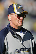 SAN DIEGO - JANUARY 14:  Head Coach Marty Schottenheimer of the San Diego Chargers checks out the field during pregame warmpus against the New England Patriots at the AFC Divisional Playoff Game held on January 14, 2007 at Qualcomm Stadium in San Diego, California. The Patriots defeated the Chargers 24-21. ©Paul Anthony Spinelli *** Local Caption *** Marty Schottenheimer