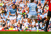 Manchester City Women forward Caroline Weir (19) scores a goal to make the score 1-0 during the FA Women's Super League match between Manchester City Women and Manchester United Women at the Sport City Academy Stadium, Manchester, United Kingdom on 7 September 2019.