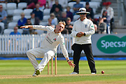 Matt Parkinson of Lancashire tries to stop a ball hit back towards him during the Specsavers County Champ Div 1 match between Somerset County Cricket Club and Lancashire County Cricket Club at the Cooper Associates County Ground, Taunton, United Kingdom on 5 September 2018.