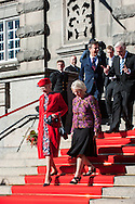 04.10.2016. Copenhagen, Denmark.  <br /> Queen Margrethe and Crown Prince Frederik leaves the parliament in Christiansborg Palace.<br /> Photo: &copy; Ricardo Ramirez