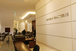 "File photo dated 15/09/08 of the reception desk in the headquarters of Lehman Brothers at Canary Wharf in London. A former Lehman Brothers banker has hit back at criticism of a reunion of the failed finance firmÕs staff, insisting it is a ""good time to catch up with old friends""."