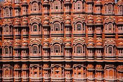 Close up of the Hawa Mahal or Palace of the Wind, Jaipur, Rajasthan, India,
