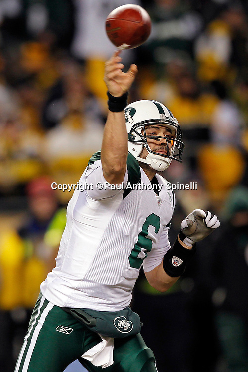 New York Jets quarterback Mark Sanchez (6) throws a pass during the NFL 2011 AFC Championship playoff football game against the Pittsburgh Steelers on Sunday, January 23, 2011 in Pittsburgh, Pennsylvania. The Steelers won the game 24-19. (©Paul Anthony Spinelli)