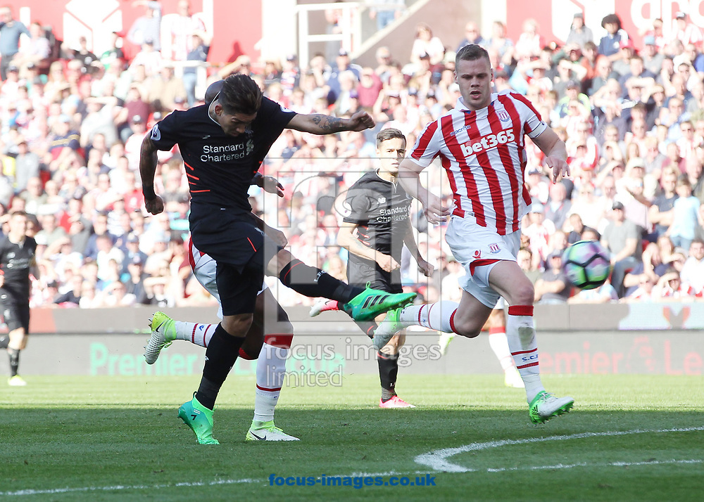 Roberto Firmino of Liverpool scores the second goal against Stoke City during the Premier League match at the Bet 365 Stadium, Stoke-on-Trent.<br /> Picture by Michael Sedgwick/Focus Images Ltd +44 7900 363072<br /> 08/04/2017
