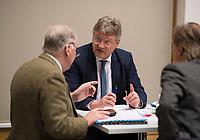 DEU, Deutschland, Germany, Berlin, 12.03.2018: V.l.n.r. Alexander Gauland, Jörg Meuthen, Bernd Baumann, Alternative für Deutschland (AfD), in der Bundespressekonferenz zum Koalitionsvertrag von CDU, CSU und SPD.
