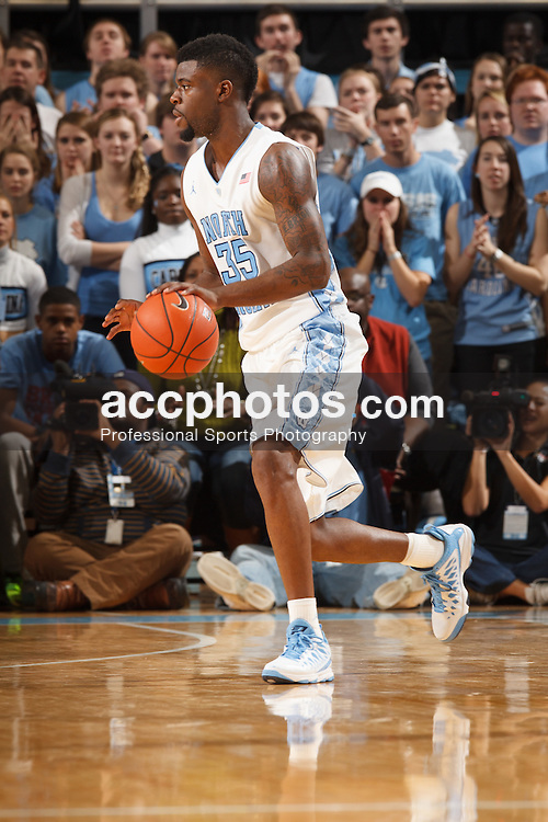 CHAPEL HILL, NC - FEBRUARY 02: Reggie Bullock #35 of the North Carolina Tar Heels dribbles the ball during a game against the Virginia Tech Hokies on February 02, 2013 at the Dean E. Smith Center in Chapel Hill, North Carolina. North Carolina won 72-60 in overtime. (Photo by Peyton Williams/UNC/Getty Images) *** Local Caption *** Reggie Bullock