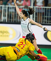 ANTWERP -    Hye Lyoung Han of Korea  scored the shoot out during  the quarterfinal hockeymatch   Korea vs Belgium (2-2) . Korea wins shoot outs. Belgium keeper Aisling  D'Hooghe.  WSP COPYRIGHT KOEN SUYK