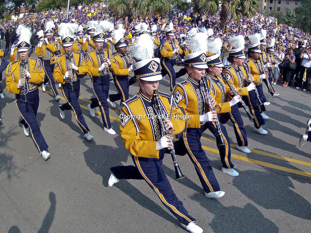 September 8, 2012; Baton Rouge, LA, USA;  The LSU Tigers band marches down Victory Hill before a game against the Washington Huskies at Tiger Stadium. LSU defeated Washington 41-3.  Mandatory Credit: Derick E. Hingle-US PRESSWIRE