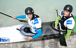 Peter Znidarsic and Luka Zganjar of Slovenia competed in C2 men at final sprint race of European wildwater Canoeing Championships Soca 2013 on May 12, 2013 in Trnovo ob Soci, Soca river, Slovenia. (Photo By Vid Ponikvar / Sportida)