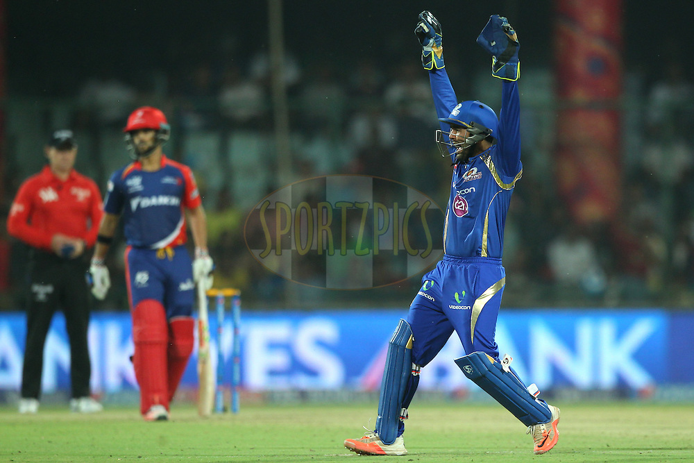 Parthia Patel of the Mumbai Indians appeals for the wicket  during match 21 of the Pepsi IPL 2015 (Indian Premier League) between The Delhi Daredevils and The Mumbai Indians held at the Ferozeshah Kotla stadium in Delhi, India on the 23rd April 2015.<br /> <br /> Photo by:  Deepak Malik / SPORTZPICS / IPL