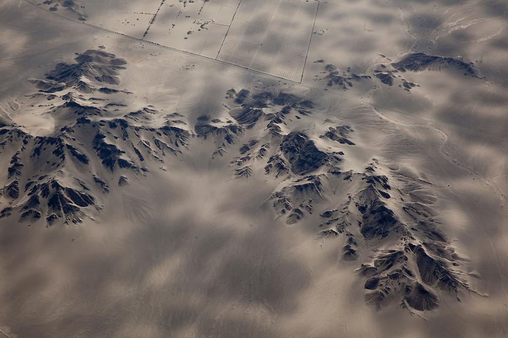Aerial view of landscape near Nasca in Peru.
