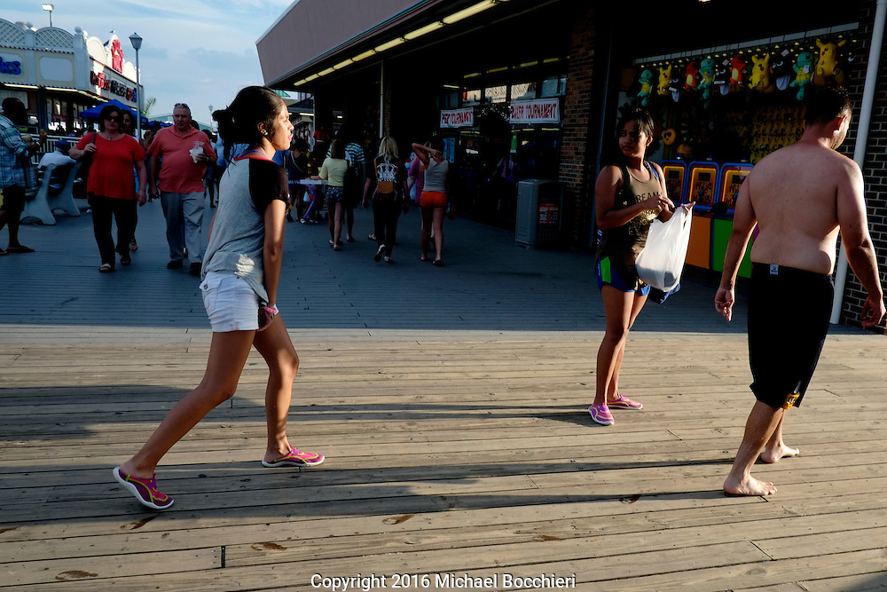 POINT PLEASANT BEACH, NJ - July 26: Young people at Jenkinson's Boardwalk on July 26, 2016 in POINT PLEASANT BEACH, NJ.  (Photo by Michael Bocchieri/Bocchieri Archive)