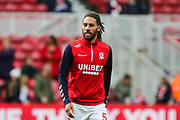 Middlesbrough defender Ryan Shotton (5) during the warm up ahead of the EFL Sky Bet Championship match between Middlesbrough and West Bromwich Albion at the Riverside Stadium, Middlesbrough, England on 19 October 2019.