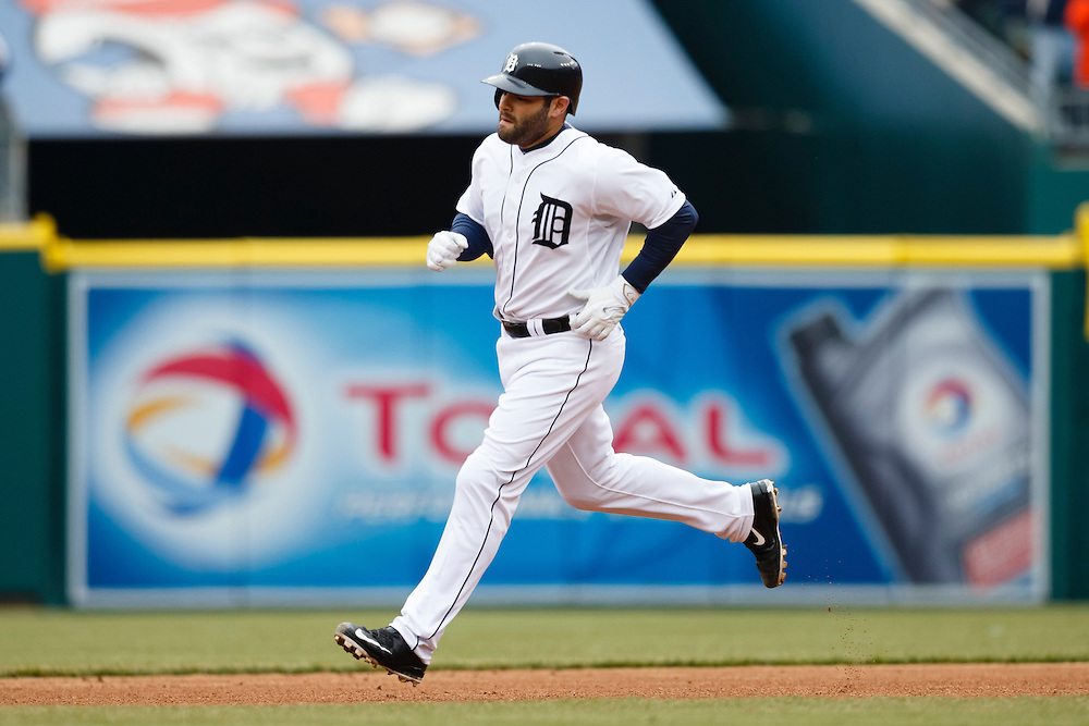 Apr 6, 2015; Detroit, MI, USA; Detroit Tigers catcher Alex Avila (13) runs the base after he hits a two run home run in the second inning against the Minnesota Twins at Comerica Park. Mandatory Credit: Rick Osentoski-USA TODAY Sports