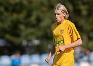 Kristoffer Arndal (Ølstykke FC) under kampen i Serie 2 mellem Ølstykke FC og Ejby IF den 7. september 2019 på Ølstykke Stadion. Foto: Claus Birch.