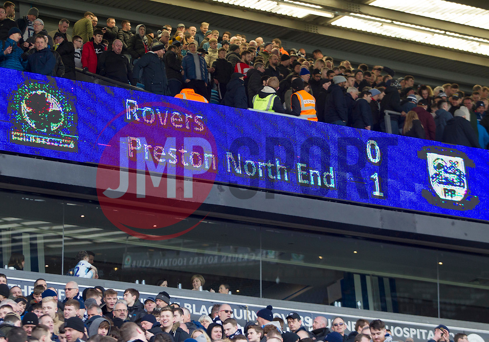 General view of the scoreboard at the final whistle - Mandatory by-line: Jack Phillips/JMP - 09/03/2019 - FOOTBALL - Ewood Park - Blackburn, England - Blackburn Rovers v Preston North End - English Football League Championship