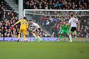 Preston North End forward Tom Barkhuizen (29) dribbling towards Fulham goal during the EFL Sky Bet Championship match between Fulham and Preston North End at Craven Cottage, London, England on 4 March 2017. Photo by Matthew Redman.