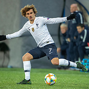 ANDORRA LA VELLA, ANDORRA. June 11.  Antoine Griezmann #7 of France in action during the Andorra V France 2020 European Championship Qualifying, Group H match at the Estadi Nacional d'Andorra on June 11th 2019 in Andorra (Photo by Tim Clayton/Corbis via Getty Images)