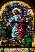 Stained glass image from St. Joseph Church in Kellnersville, Wis., depicts Jesus as the Good Shepherd. (Sam Lucero photo)