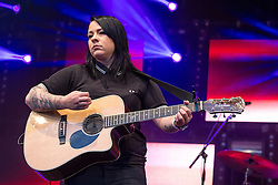 """© Licensed to London News Pictures . 25/08/2014 .  Manchester , UK . LUCY SPRAGGAN performs on the main stage . Manchester Pride """" Big Weekend """" in Manchester . Photo credit : Joel Goodman/LNP"""