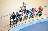 London, England, 12-02-18. Competitors follow the motorcycle pace bike in the finals of the men's Keirin at the UCI World Cup, Track Cycling, Olympic Velodrome, London. Part of the London Prepares Olympic preparations.