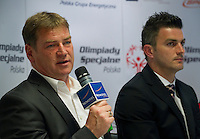 (L) Jan Urban and (R) Michal Zewlakow while Special Olympics's press conference before European Football Week at Novotel Hotel in Warsaw on May 15, 2013..The mission of Special Olympics is to provide sports training and athletic competition for children and adults with intellectual disabilities...Poland, Warsaw, May 15, 2013...Picture also available in RAW (NEF) or TIFF format on special request...For editorial use only. Any commercial or promotional use requires permission...Photo by © Adam Nurkiewicz / Mediasport
