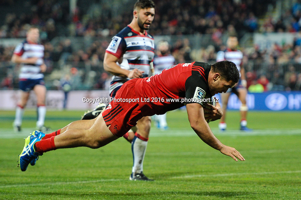 Codie Taylor of the Crusaders scores a try during the Super Rugby Match, Crusaders V Rebels, AMI Stadium, Christchurch, New Zealand. 9th July 2016. Copyright Photo: John Davidson / www.photosport.nz