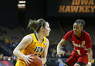 February 11 2013: Nebraska Cornhuskers guard Courtney Aitken (22) works against Nebraska Cornhuskers guard Tear'a Laudermill (1) during the first half of the NCAA women's basketball game between the Nebraska Cornhuskers and the Iowa Hawkeyes at Carver-Hawkeye Arena in Iowa City, Iowa on Monday, February 11 2013.