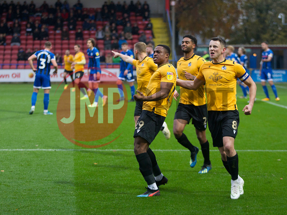 Victor Adeboyejo of Bristol Rovers celebrates after scoring his sides first goal - Mandatory by-line: Jack Phillips/JMP - 02/11/2019 - FOOTBALL - Crown Oil Arena - Rochdale, England - Rochdale v Bristol Rovers - English Football League One