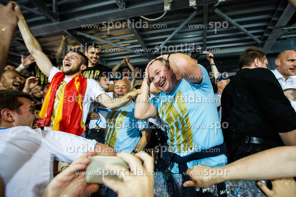 Matjaz Kek head coach of HNK Rijeka during celebration after winning Croatian national soccer league after football match between HNK Rijeka and HNK Cibala in Round #35 of 1st HNL League 2016/17, on May 21st, 2017 in Rujevica stadium, Rijeka, Croatia. Photo by Grega Valancic / Sportida