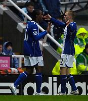 Photo: Jed Wee/Sportsbeat Images.<br /> Newcastle United v Birmingham City. The FA Barclays Premiership. 08/12/2007.<br /> <br /> Birmingham's Sebastian Larsson (R) congratulates goalscorer Cameron Jerome.