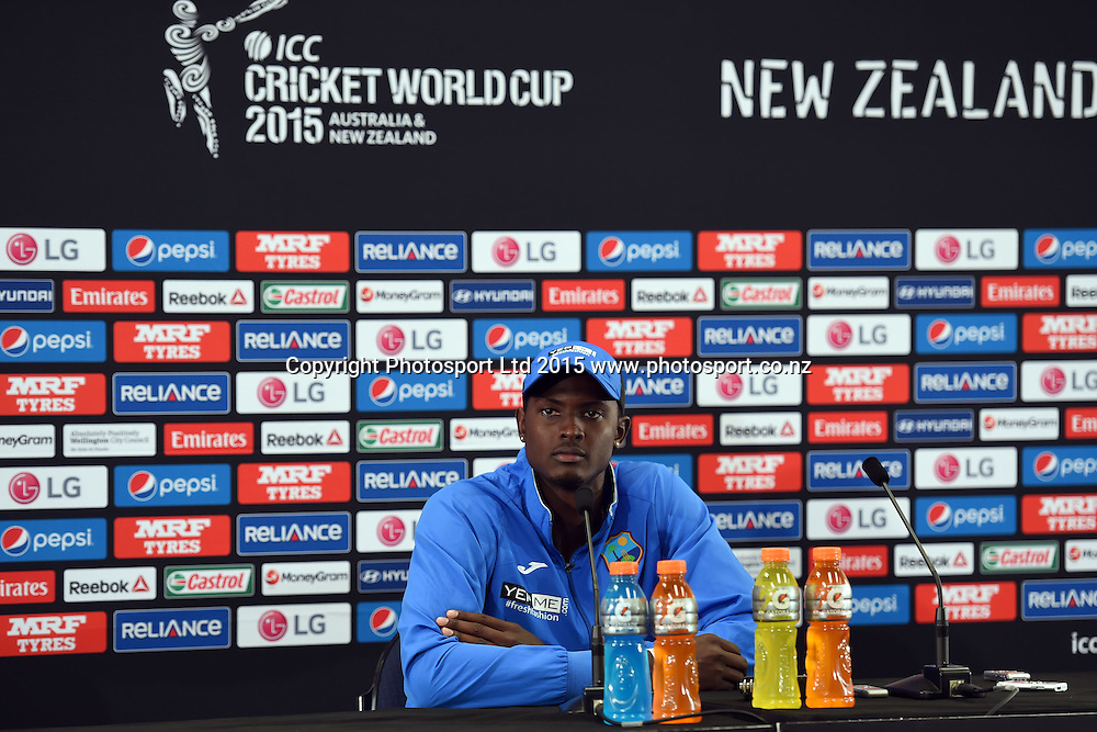 West Indies captain Jason Holder at the press conference after West Indies' loss to New Zealand at the ICC Cricket World Cup Quaterfinal match between New Zealand and West Indies at Westpac Stadium in Wellington, New Zealand. Saturday 21  March 2015. Copyright Photo: Raghavan Venugopal / www.photosport.co.nz