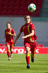 LLANELLI, WALES - Thursday, August 22, 2013: Wales' Amy Thrupp in action against England during the Group A match of the UEFA Women's Under-19 Championship Wales 2013 tournament at Parc y Scarlets. (Pic by David Rawcliffe/Propaganda)