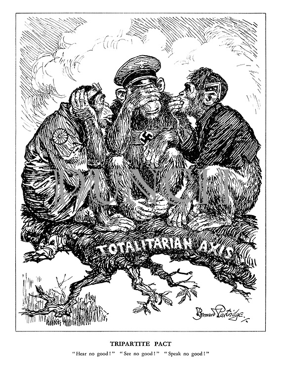 "Tripartite Pact. ""Hear no good!"" ""See no good!"" ""Speak no good!"" (the three Axis monkeys Japan, Germany and Italy sit on the Totalitarian Axis branch)"