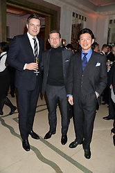 Left to right, THOMAS KOCHS, DERMOT O'LEARY and WEI KOH at a reception hosted by Wei Koh founder of The Rake Magazine and Thomas Kochs General Manager of Claridge's to celebrate London Collections: Man 2014 at Claridge's, Brook Street, London on 5th January 2014.
