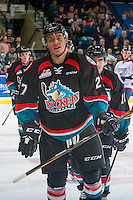 KELOWNA, CANADA - OCTOBER 21: Calvin Thurkauf #27 of the Kelowna Rockets celebrates a goal against the Tri-City Americans on October 21, 2016 at Prospera Place in Kelowna, British Columbia, Canada.  (Photo by Marissa Baecker/Shoot the Breeze)  *** Local Caption ***