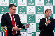 (L) Janusz Kubicki president of Zielona Gora City & (R) Andrew Jarrett - official ITF referee while official draw one day before the BNP Paribas Davis Cup 2013 between Poland and South Africa at MOSiR Hall in Zielona Gora on April 04, 2013...Poland, Zielona Gora, April 04, 2013..Picture also available in RAW (NEF) or TIFF format on special request...For editorial use only. Any commercial or promotional use requires permission...Photo by © Adam Nurkiewicz / Mediasport