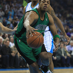 11 February 2009:  Boston Celtics forward Paul Pierce (34) drives past New Orleans Hornets forward David West (30) during a NBA game between the Boston Celtics and the New Orleans Hornets at the New Orleans Arena in New Orleans, LA.