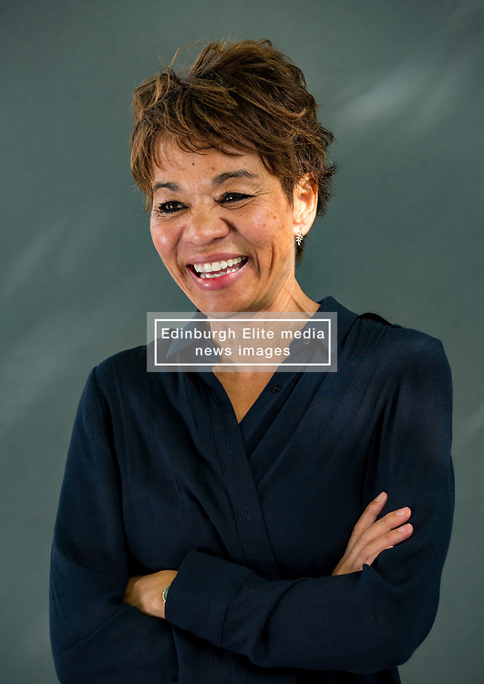 Pictured: Edinburgh International Book Festival, Edinburgh, Scotland, United Kingdom, 24 August 2019. Pictured: Tessa McWatt, a Guyanese-born Canadian writer and currently Professor of Creative Writing at the University of East Anglia, talks about her book 'Shame on Me' at the book festival today.<br /> Sally Anderson | EdinburghElitemedia.co.uk