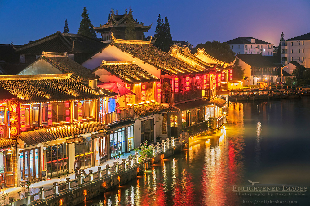 Evening along the Dianpu River seen from the Fangsheng Bridge, Ancient Town at Zhujiajiao, Shanghai Province, China