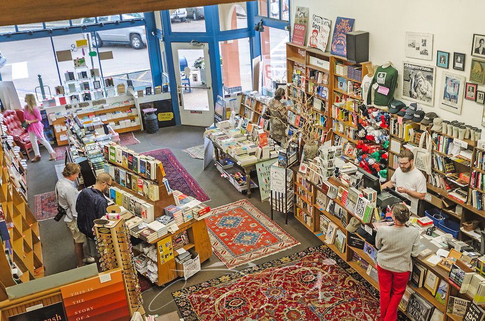 Customers browse the book selections at Square Books, May 31, 2015, in Oxford, Mississippi. The family-owned bookstore was founded in 1979 by Richard and Lisa Howorth and is considered to be one of the catalysts prompting downtown revitalization in Courthouse Square.  (Photo by Carmen K. Sisson/Cloudybright)