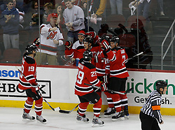 Feb 28, 2009; Newark, NJ, USA; The New Jersey Devils celebrate the second goal of the period by New Jersey Devils left wing Zach Parise (9) during the first period at the Prudential Center.