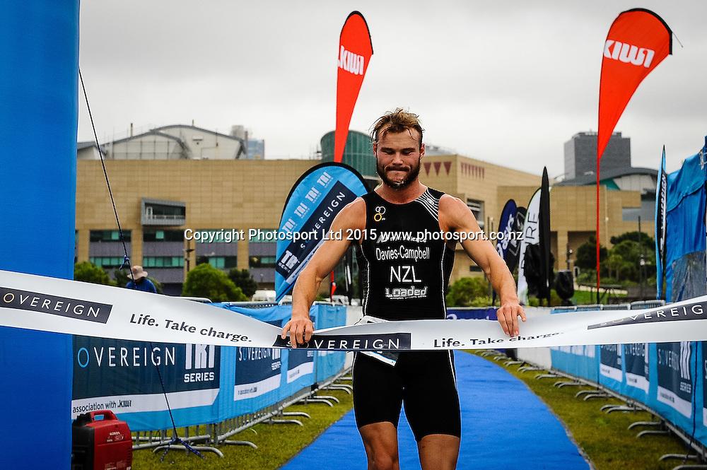 Jai Davies-Campbell, winner of the Sovereign Tri Series, Waterfront, Wellington, New Zealand. Saturday 14 March 2015. Copyright Photo: Mark Tantrum/www.Photosport.co.nz