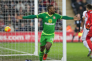 Jermain Defoe of Sunderland celebrates scoring his side's first goal during the Barclays Premier League match between Swansea City and Sunderland at the Liberty Stadium, Swansea, Wales on 13 January 2016. Photo by Mark Hawkins.